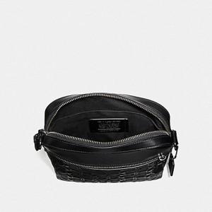 COACH HOUSTON FLIGHT BAG IN SIGNATURE LEATHER (BLACK/BLACK ANTIQUE NICKEL)