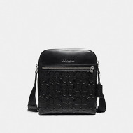 COACH HOUSTON FLIGHT BAG IN SIGNATURE LEATHER (BLACK/BLACK ANTIQUE NICKEL)