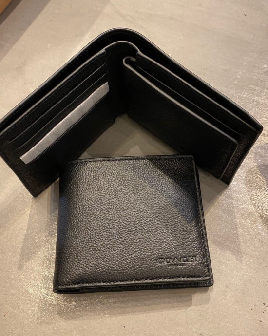 COACH COMPACT ID WALLET IN SPORT CALF LEATHER (BLACK)