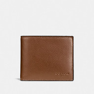COACH COMPACT ID WALLET IN SPORT CALF LEATHER (DARK SADDLE)