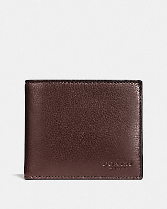 COACH COMPACT ID WALLET IN SPORT CALF LEATHER (MAHOGANY)