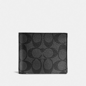 COACH COMPACT ID WALLET IN SIGNATURE (CHARCOAL/BLACK) - ETA (ESTIMATED TIME ARRIVAL) MALAYSIA 7 MARCH