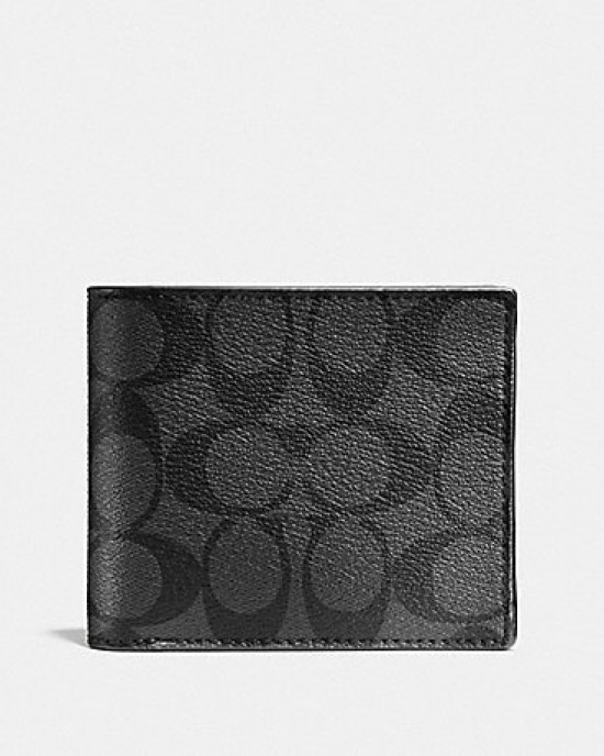 COACH COMPACT ID WALLET IN SIGNATURE (CHARCOAL/BLACK)