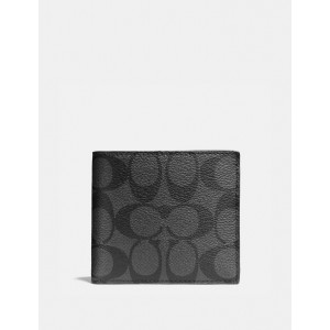 COACH DOUBLE BILLFOLD WALLET IN SIGNATURE (CHARCOAL/BLACK)