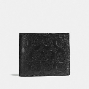 COACH COMPACT ID SIGNATURE CROSSGRAIN LEATHER (BLACK)