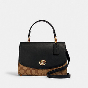 COACH TILLY TOP HANDLE SATCHEL WITH SIGNATURE CANVAS (IM/KHAKI/BLACK)