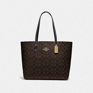 COACH TOWN TOTE IN SIGNATURE CANVAS (IM/BROWN/BLACK)
