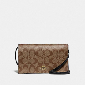 COACH HAYDEN FOLDOVER CROSSBODY CLUTCH IN SIGNATURE CANVAS (IM/KHAKI/BLACK)