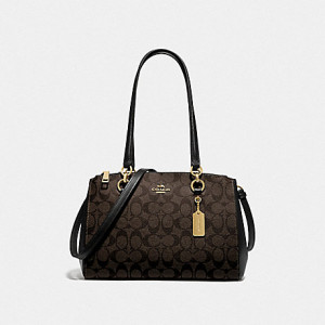 COACH ETTA CARRYALL IN SIGNATURE CANVAS BROWN/BLACK/GOLD)