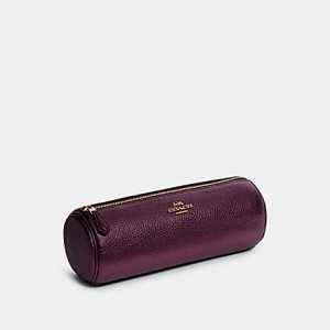 COACH MAKEUP BRUSH HOLDER (IM/DARK BERRY/METALLIC BERRY)