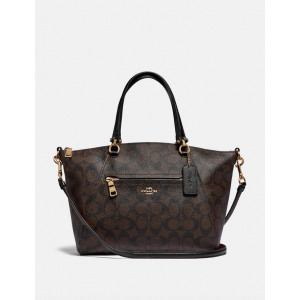 COACH PRAIRIE SATCHEL IN SIGNATURE CANVAS (BROWN/BLACK)
