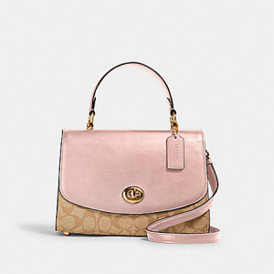 COACH TILLY TOP HANDLE SATCHEL IN SIGNATURE CANVAS (IM/LIGHT KHAKI BLOSSOM)