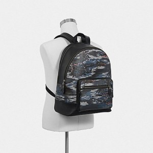 COACH WEST BACKPACK WITH HAWAIIAN PRINT (BLACK MULTI/BLACK ANTIQUE NICKEL)