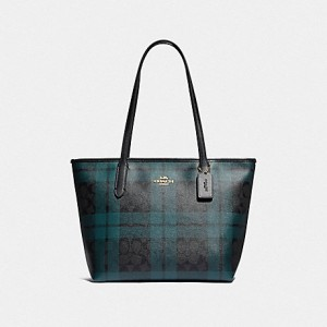 COACH ZIP TOP TOTE IN SIGNATURE CANVAS WITH FIELD PLAID PRINT (IM/BLACK/DEEP OCEAN MULTI)