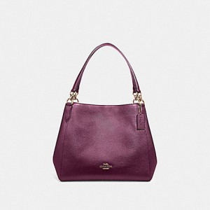COACH HALLIE SHOULDER BAG (METALLIC BERRY)