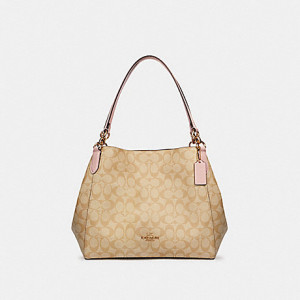 COACH HALLIE SHOULDER BAG IN SIGNATURE CANVAS (IM/LIGHT KHAKI BLOSSOM)