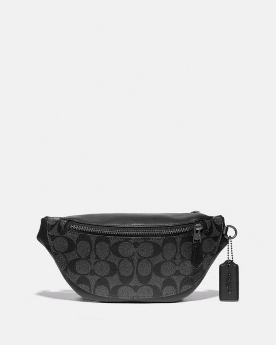 COACH WARREN MINI BELT BAG IN SIGNATURE (QB/CHARCOAL/BLACK)