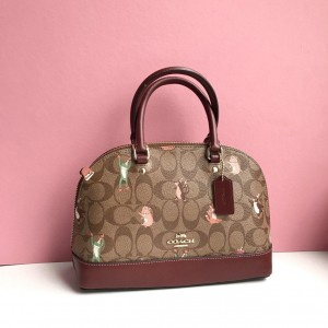 COACH MINI SIERRA SATCHEL IN SIGNATURE CANVAS WITH PARTY ANIMALS PRINT (IM/KHAKI PINK MULTI)