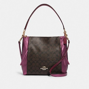 COACH MARLON HOBO IN SIGNATURE CANVAS (IM/BROWN METALLIC BERRY)