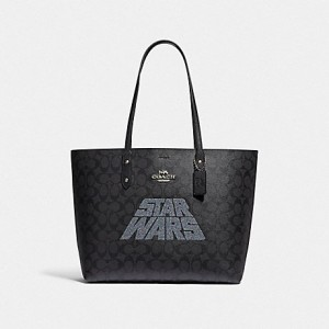 COACH STAR WARS X COACH TOWN TOTE IN SIGNATURE CANVAS WITH MOTIF ( SV/BLACK SMOKE/BLACK MULTI)