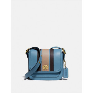 COACH RAMBLER CROSSBODY 16 WITH VARSITY STRIPE (B4/PACIFIC BLUE)