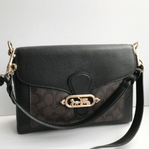 COACH JADE MESSENGER WITH SIGNATURE CANVAS DETAIL (IM/BROWN/BLACK)