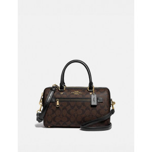 COACH ROWAN SATCHEL IN SIGNATURE CANVAS (IM/BROWN/BLACK)