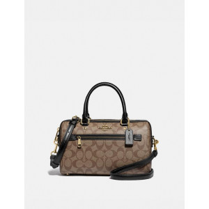 COACH ROWAN SATCHEL IN SIGNATURE CANVAS (IM/KHAKI/BLACK)