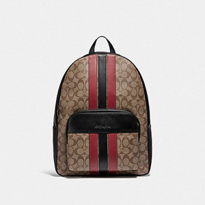 COACH HOUSTON BACKPACK IN SIGNATURE CANVAS WITH VARSITY STRIPE (QB/TAN/SOFT RED/BLACK)