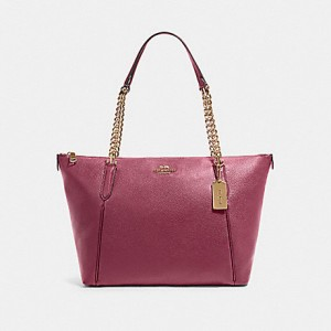 COACH AVA CHAIN TOTE (IM/DARK BERRY)