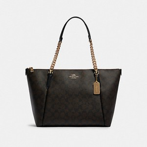 COACH AVA CHAIN TOTE IN SIGNATURE CANVAS (IM/BROWN/BLACK)