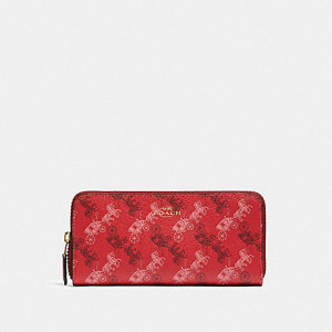 COACH SLIM ACCORDION ZIP WALLET WITH HORSE AND CARRIAGE PRINT (IM/BRIGHT RED/CHERRY MULTI)