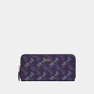 COACH SLIM ACCORDION ZIP WALLET WITH HORSE AND CARRIAGE PRINT (IM/DARK PURPLE/LAVENDER MULTI)
