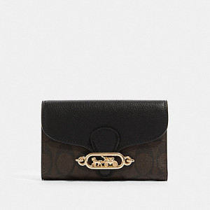 COACH JADE MEDIUM ENVELOPE WALLET IN SIGNATURE CANVAS (IM/BROWN/BLACK)