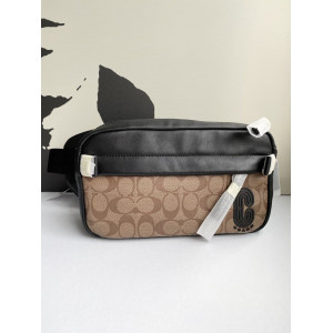 COACH EDGE BELT BAG IN SIGNATURE CANVAS (QB/TAN)