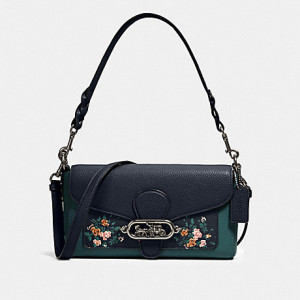 COACH JADE SHOULDER BAG WITH ROSE BOUQUET PRINT (SV/MIDNIGHT MULTI)