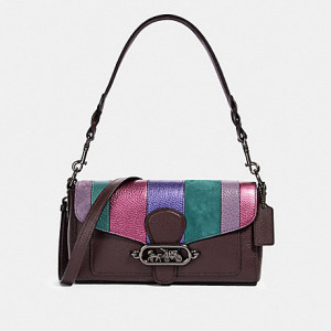 COACH JADE SHOULDER BAG WITH PIECING (QB/OXBLOOD MULTI)