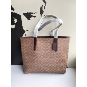 COACH HIGHLINE TOTE IN SIGNATURE (B4/TAN BLACK)