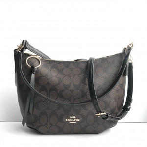 COACH SMALL SKYLAR HOBO IN SIGNATURE CANVAS (BROWN/BLACK)