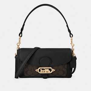 COACH SMALL JADE SHOULDER BAG WITH SIGNATURE CANVAS DETAIL (IM/BROWN BLACK)