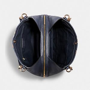 COACH HALLIE SHOULDER BAG WITH PAINTED FLORAL BOX PRINT (IM/DENIM MULTI)