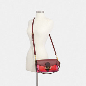 COACH SMALL JADE SHOULDER BAG IN COLORBLOCK (OL/WINE OXBLOOD MULTI)