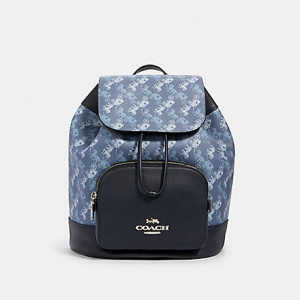 COACH JES BACKPACK WITH HORSE AND CARRIAGE PRINT (SILVER/INDIGO/PALE BLUE MULTI)