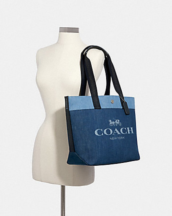 COACH TOTE (SILVER/DENIM)
