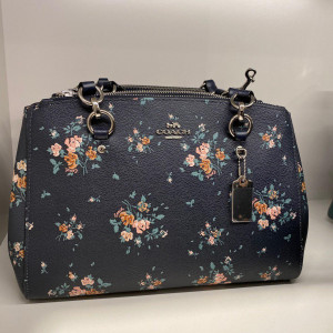 COACH ETTA CARRYALL WITH ROSE BOUQUET PRINT (SILVER/MIDNIGHT MULTI)