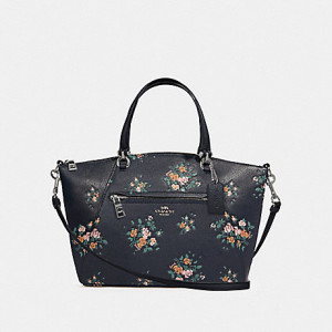 COACH PRAIRIE SATCHEL WITH ROSE BOUQUET PRINT (SILVER/MIDNIGHT MULTI)