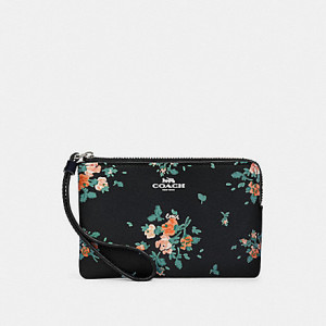 COACH CORNER ZIP WRISTLET WITH ROSE BOUQUET PRINT (SILVER/MIDNIGHT MULTI)