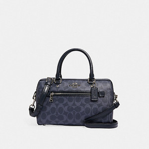 COACH ROWAN SATCHEL IN SIGNATURE CANVAS (SV/DENIM MIDNIGHT)