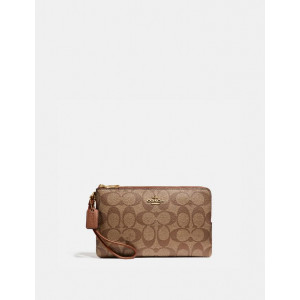 COACH DOUBLE ZIP WALLET IN SIGNATURE CANVAS (IM/KHAKI/REDWOOD)