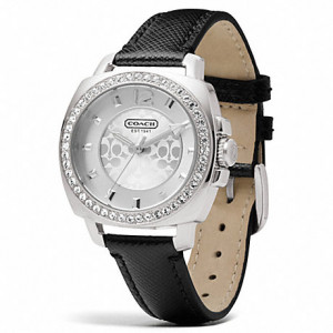 COACH BOYFRIEND SILVER LEATHER STRAP WATCH (14503152)